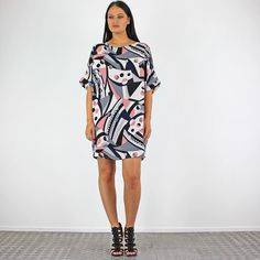 PinkCad Pink Navy & White Abstract Patterned Baggy T Shirt Dress £16.99 www.pinkcadillac.co.uk Pink Cadillac, Abstract Pattern, Navy And White, Shirt Dress, Pretty, Womens Fashion, How To Wear, Stuff To Buy, Shirts