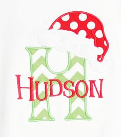 Personalized+Christmas+Shirt+Santa+Hat+Initial+by+bowdaciousbaby,+$20.00