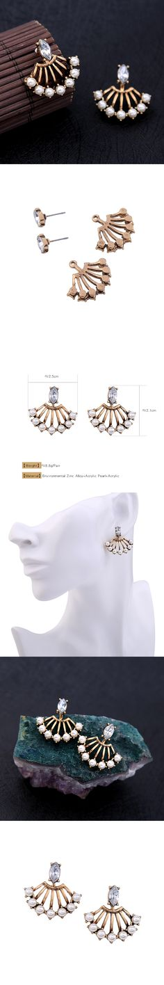 Convertible Acrylic Pearl Vintage Earrings Women Fan Shape Pending Ear Jacket Fashion Stud Earrings Brincos