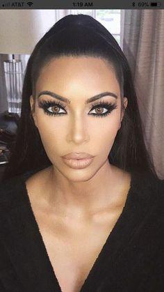 The Best makeup ideas. Kim K Makeup, Glam Makeup, Pretty Makeup, Bridal Makeup, Beauty Makeup, Eye Makeup, Hair Beauty, Make Up Looks, Pretty Eyes