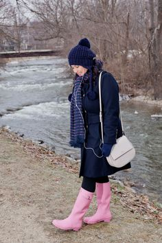 Draper James Mittens and iPhone Cover Case Navy Michael Kors Coat Scarf Hat and Pink Hunter Boots