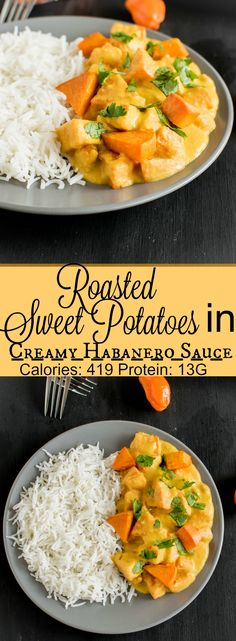Roasted Sweet Potatoes in Creamy Habanero Sauce - pan roasted sweet potatoes in garlic flavored oil cooked in creamy habanero sauce and well seasoned, ready in 20 minutes this vegan and gluten free entree is lip smacking | kiipfit.com