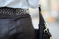 Studded leather shorts