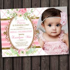 pink and gold first birthday invitation, customized for you, cute  first birthday invitations, pink and gold party