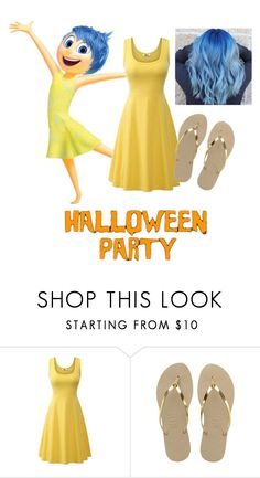 """""""Halloween costume: Happiness Inside Out"""" by taffytheunicorn ❤ liked on Polyvore featuring Havaianas"""
