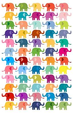 SO many colorful elephants