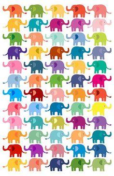 SO many colorful elephants