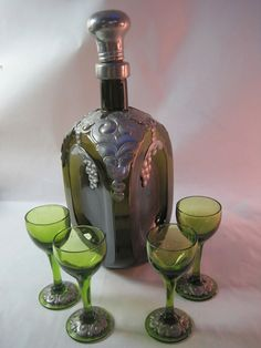 Pinched glass decanter with pewter overlay 1930s by Hallingtons