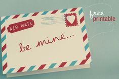 Free Air Mail Valentine Card Printable! – Wonder Forest