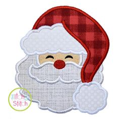 """Santa Fluffy Hat Applique design for machine embroidery, shown with our """"Cinnamon Cake"""" font NOT Inc Machine Applique Designs, Machine Embroidery Applique, Embroidery Fonts, Applique Patterns, Rug Patterns, Christmas Applique, Christmas Sewing, Christmas Embroidery, Christmas Skirt"""