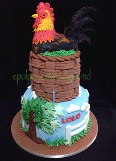 - Cake by Pia Angela Dalisay Tecson Cupcake Birthday Cake, Themed Birthday Cakes, Birthday Party Themes, Cupcake Cakes, Hawaiin Theme, Rooster Tattoo, Chicken Cake, Family Birthdays, Cute Cakes