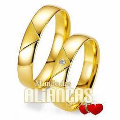 Aliança de noivado e casamento  Aliança em ouro amarelo 18k 750  Por: R$ 1.328,00   http://www.mundodasaliancas.com.br/