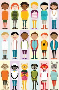 Olliblocks Illustrations: Girls, Boys & Animals