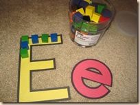 Color Cubes: I use our Large Alphabet Lacing Cards to serve as templates for our 1″ building blocks. We pick 2 colors of blocks and do a pattern as we form the letters! We also use them for lacing practice, but this was a variation since I've been making the shaped lacing cards too! Click here for more fun with Creative Color Cube Activity Cards