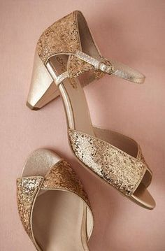 Glittering Gold Heels By Seychelles From BHLDN. Glitter Wedding Shoes ...