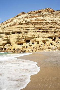 Limestone caves on the beach of Matala, Crete, Greece, Europe
