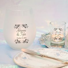 Together Forever! Great for wedding table centerpieces or unity candles. Every printed glass comes with a free candle. Designs are permanently printed on. See more here: http://weddingcandles.com/products/cylinder-together-forever?variant=6284532229