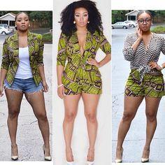 African jacket,jumper and shorts! ~African fashion, Ankara, kitenge, African women dresses, African prints, Braids, Nigerian wedding, Ghanaian fashion, African wedding ~DKK