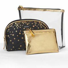 18ead67e810b ELLE Cosmetics 3-pc. Metallic Makeup Bag Set  KohlsDreamGifts Metallic  Makeup