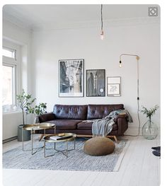 Leather. Bleached floors. Gold accents.