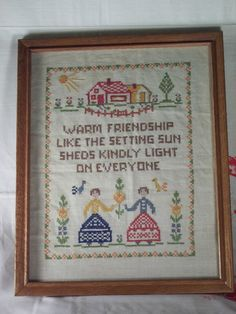 Vintage sampler about friendship.