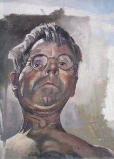 Self Portrait by Gaslight Looking Downwards, 1949 by Stanley Spencer (English 1891-1959)