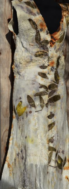 eco print of leaves and flowers and rust on nuno felted, not sewn dress, by www.tashwesp.com