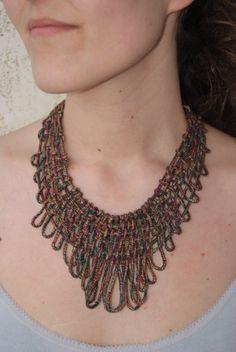 Brick Net Necklace sewn with Dull Brick Silk Yarn by JoyasTextiles, €40.00