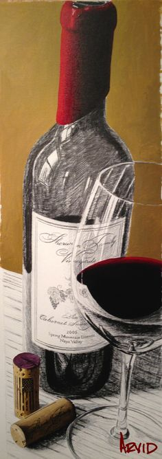 """© Thomas Arvid 2015 """"Winning Me Over"""" featuring Sherwin Family Vineyards Mixed Media on Canvas  43.5"""" x 15"""""""