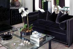 Steel Blue Velvet Sofa