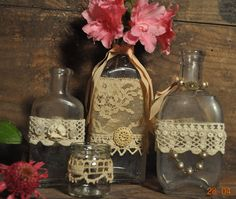 Antique and vintage bottles for flower vase or shabby chic decor - made with vintage and antique lace and buttons on Etsy, $14.00