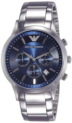 a825d8f554245 Emporio Armani Men s AR2448 Dress Silver Watch Relógios Masculinos, Empório  Armani, Men s Watches,