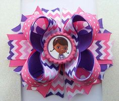 Doc Mcstuffins Inspired Boutique Stacked Hair Bow -Doc Mcstuffins Birthday Hair Bow on Etsy, $11.00