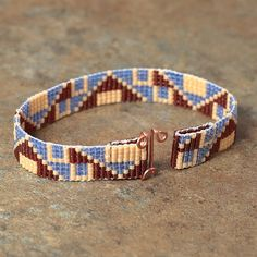 Southwestern Blue and Red Beaded Bracelet Tribal by PuebloAndCo