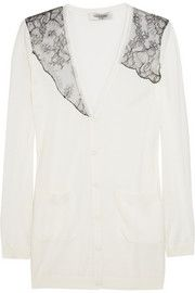 Valentino Lace-trimmed wool-blend cardigan