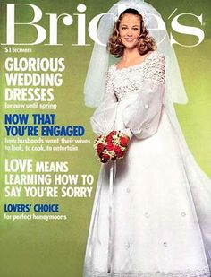 """Published December 1971 Cybill Shepherd, 1966 """"Miss Teenage Memphis"""" and 1968 """"Model of the Year,"""" posed for The Bride's December 1971 cover which was photographed by Didier Dorot the same year she made her film debut in """"The Last Picture Show. 1960s Wedding Dresses, 1970s Wedding, Vintage Wedding Photos, Vintage Bridal, Vintage Weddings, Bridal Gowns, Wedding Gowns, Bridal Style, Marie"""
