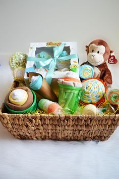 We dare you to find a new mommy that wouldn't be thrilled to open thisbaby gift basket for her new little one. In this incredible gift basket you will receive everything that we love from our signature cupcakes, to our milkshake, ice cream sundaes and lollipops. Put it all together in a gorgeous handled or lidded basket perfect for anything you can imagine and you have a adorable baby gift that will have everyone wishing that they were the new mommy! $115 at alamode-gifts.com