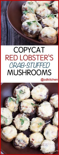 Copycat Red Lobster's Crab Stuffed Mushrooms – Everyone's favorite stuffed mushr… - seafood recipes Lobster Recipes, Crab Recipes, Mushroom Recipes, Burger Recipes, Recipies, Shrimp Appetizers, Yummy Appetizers, Appetizer Recipes, Mushroom Appetizers