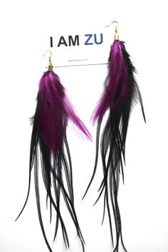 Feather earrings, handmade by I AM ZU Miss Black with Fuchsia info@iamzu.com