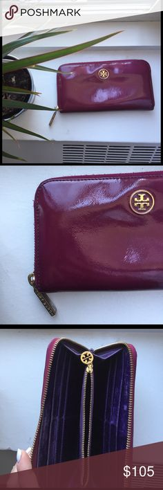 Tory Burch Wallet Patent magnet color with purple leather interior and go hardware. 12 credit card slots and a change pouch. 100% authentic. Amazing condition Tory Burch Bags Wallets