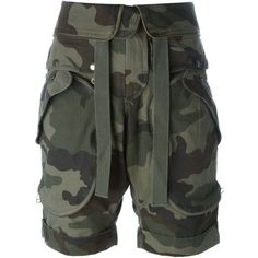Faith Connexion Camouflage Print Cargo Shorts ($482) ❤ liked on Polyvore featuring shorts, green, green shorts, camo shorts, camoflage shorts, camoflauge shorts and green cargo shorts