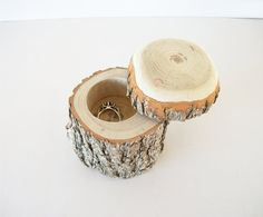 Wood Jewelry Box With Lid Rustic Ring Bearer Log Wedding Jewellery Box Sassafras Trinket Paperclip Holder