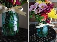 flowers, ribbons, and jars