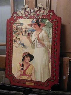 Oude Brocante Vintage Reclamebord Coca Cola 1918 Beach Girls