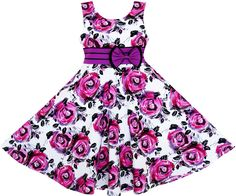 Girls Dress Princess Rose Flower Bow Tie Party Summer Cotton Age 6-12…