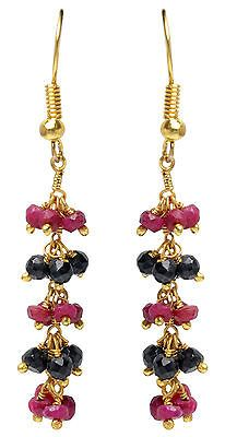 RUBY-amp-BLACK-SPINEL-GEMSTONE-FACETED-EARRING-MADE-IN-925-STERLING-SILVER-ES1635