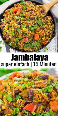 - simple rice dish from Louisiana - Jambalaya is the ultimate feel-good food from the Southeastern United States! Recipes with rice or -Jambalaya - simple rice dish from Louisiana - Jambalaya is the ultimate feel-good fo. Easy Vegan Dinner, Vegan Dinner Recipes, Vegan Dinners, Vegetarian Recipes, Healthy Recipes, Vegan Vegetarian, Vegan Food, Food Food, Vegetarian Rice Dishes