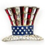 Patriotic Jewelry for the 4th of July: Uncle Sam Top Hat Brooch. 18k white gold, set with square-cut rubies and sapphires, and round diamonds from N. Green & Sons, Inc.