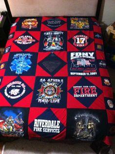 Firefighter T-shirt  blanket, Memory Blanket, Tshirt blanket queen/king sizr by Lilredtab on Etsy https://www.etsy.com/listing/115544918/firefighter-t-shirt-blanket-memory