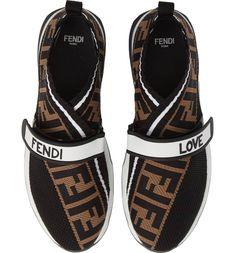 Stark stripes add to the sporty style of a logo-knit sneaker that offers an avant-garde twist on a classic athleisure look. Style Name:Fendi Rockoko Knit Sneaker (Women). Style Number: Available in stores. Sneakers Fashion, Fashion Shoes, Milan Fashion, Daily Fashion, Fashion Women, Athleisure, Sneaker Women, Knit Sneakers, Sporty Style